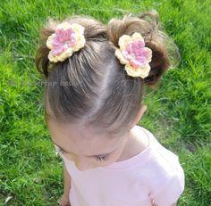 crochet flower clips