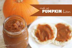 Repeat Crafter Me: Crock Pot Pumpkin Butter  (pumpkin puree, apple juice, sugar, cinnamon, spices)