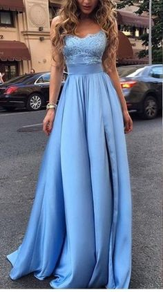 A line Slit Evening Dress,Ice Blue Lace Prom Dress,Sexy Slit Prom Gown
