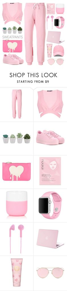 """Sweatpants"" by pure-vnom ❤ liked on Polyvore featuring MSGM, Boohoo, Kenzo, Love Moschino, Rodial, Royal Copenhagen, Apple, Happy Plugs, Tory Burch and LMNT"