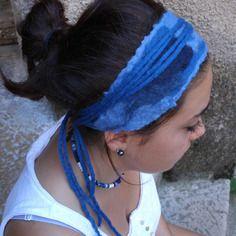 Bandeau laine feutrée camaïeu bleu