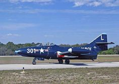Grumman F9F-5 Panther was Grumman's first fighter & one of USNs most successful carrier based jet fighters. Towards end of their service life, also served as trainers, & several converted to unmanned target drones. Valiant Air Command Warbird Museum, 6600 Tico Road -- Titusville, FL.