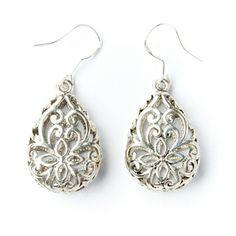 Silver Lattice Teardrop Earrings (China)