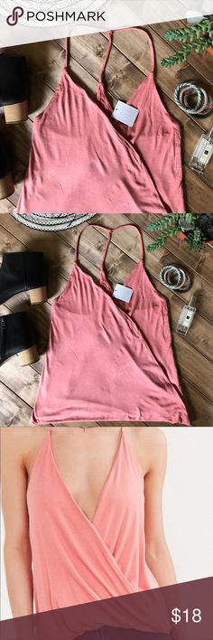 • Silence and Noise T back tank • Coral color. Open front and would require something like a bralette underneath. So soft and flattering. No flaws at all! Could fit up to a medium! Urban Outfitters Tops Tank Tops
