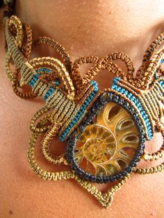 Ammonite Macrame Necklace Handmade with natural ammonite fossil shell