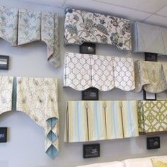A variety of window treatment valances & cornice . - CLICK THE PIN for Lots of Kitchen Window Treatment Ideas. Window Cornices, Valance Window Treatments, Custom Window Treatments, Window Coverings, Ideas For Window Treatments, Kitchen Window Treatments With Blinds, Window Blinds, Curtains And Draperies, Curtains Living