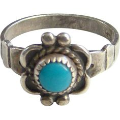 Bell Trading Post Turquoise Pinky Ring Size 5.25 Sterling Silver Signed
