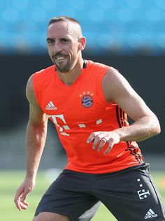 Franck Ribery of FC Bayern Muenchen smiles during a training session at the AUDI Summer Tour USA 2016 on July 29 2016 at Bank of America stadium in...
