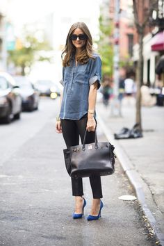 Denim shirt+ black slacks + blue pumps