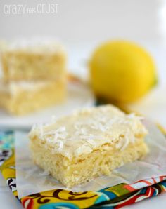 Lemon Coconut Blondies by www.crazyforcrust.com | A blondie infused with lemon, coconut, and white chocolate!