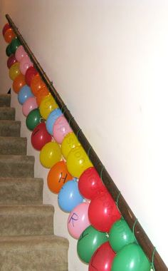 Balloon garland - great of your graduation party is upstairs or downstairs.