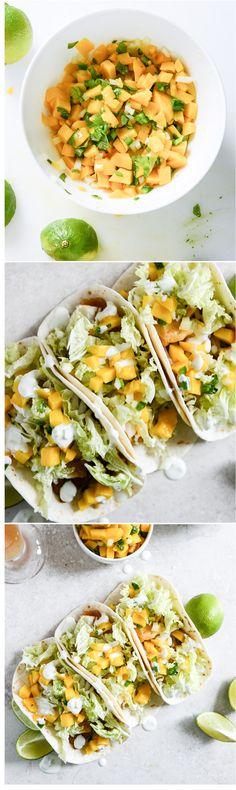 The BEST fish tacos with mango margarita salsa! I howsweeteats.com
