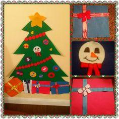 Felt Christmas Tree and Felt Decorations Felt Decorations, Felt Christmas, Diy Crafts, Holiday Decor, Home Decor, Room Decor, Homemade, Crafts, Home Interior Design