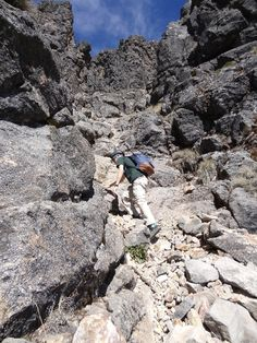Nevado de Colima Volcano. This is the most difficult section: the final climb to the summit up a series of loose rocky gullies. Jupiter had supplied us with climbing helmets for this section and guided us up the best route until there we were on the summit ridge.