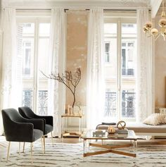 Please Let Me Live In The Anthropologie Catalog #refinery29  http://www.refinery29.com/2016/10/127988/anthropologie-house-and-home-fall-2016#slide-10  All hail the quiet power of neutrals.Embroidered Lacina Curtain, $158.00, available at Anthropologie....