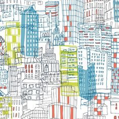 P B Textiles - Jessica Hogarth - VeloCity - City from Delta Patchwork Textile Prints, Textile Design, Fabric Design, Textiles, Fabric Patterns, Print Patterns, Kitsch, Rock N Folk, Decoupage