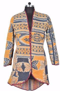 L Vintage kantha Long Jacket Reversible Gudri Rally Coat Sherwani ID15014 #JeyporeCreations #BasicJacket