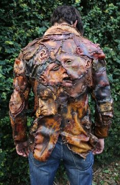 All-too-realistic serial killer jacket covered in latex skin, ears & human faces can now be yours!