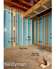 How to Use a Laser Level: Transferring wall layout lines with a cross-line laser level. http://www.familyhandyman.com/tools/how-to-use-a-laser-level/view-all