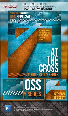 At The Cross Bible Study Church Flyer Template — Photoshop PSD #clouds #Saved • Available here → https://graphicriver.net/item/at-the-cross-bible-study-church-flyer-template/6630770?ref=pxcr