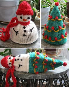 Knitting Pattern Topsy Turvy Snowman to Tree Toy - #ad This toy flips inside-out turning the snowman into a tree. One of the 12 patterns from Topsy-Turvy Inside-Out Knit Toys Pictured project by NanaMama tba