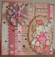 Made By SOP » Card new born baby girl with magnolia stamp