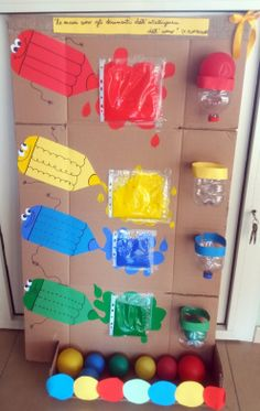 Pannello sensoriale: i colori. Sensorial panel: the colorsThis Pin was discovered by Dom Preschool Learning Activities, Color Activities, Infant Activities, Kids Crafts, Preschool Crafts, Baby Sensory Play, Preschool Colors, Kids And Parenting, Creative