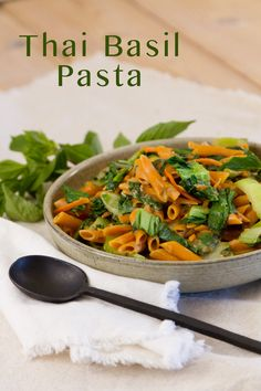 "Thai Basil Pasta is simple to prepare and packs a delicious flavor punch. Creamy coconut sauce loaded with veggies, and served over pasta; it's perfect for a quick and convenient ""Meatless Monday"" weeknight dinner."