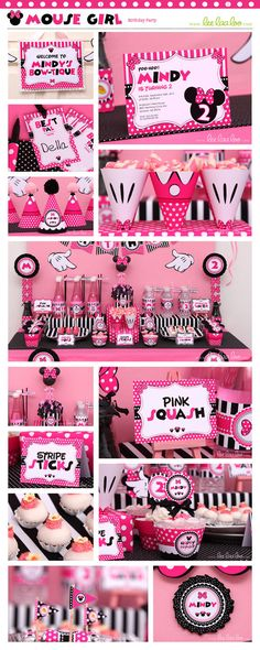 Mouse Girl Birthday Party Package Collection Set Mega Personalized Printable Design by leelaaloo.com #leelaaloo #birthday #party