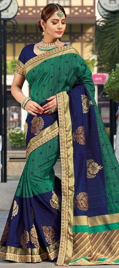 Traditional Blue, Green color Saree in Raw Silk, Silk fabric with Thread work Green Colors, Blue Green, Traditional Sarees, Thread Work, Silk Fabric, Silk Sarees, Sari, India, Fashion