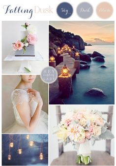 Falling Dusk – a Wedding Inspiration Board in Shades of Twilight Blue and Blush by Hey Wedding Lady