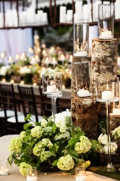 Rustic wedding ideas candle centerpieces for weddings candlelight candlelit winter green white romantic with candles Mod Wedding, Garden Wedding, Wedding Table, Floral Wedding, Rustic Wedding, Wedding Flowers, Wedding Ideas, Candle Wedding Centerpieces, Outdoor Wedding Decorations