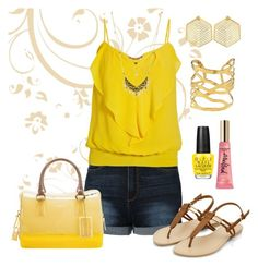"""Bold Yellow"" by stileclassico ❤ liked on Polyvore featuring Devon Leigh, OPI, Kasturjewels, Too Faced Cosmetics, LE3NO, Morgan, Charlotte Russe, Furla, yellow and bold"