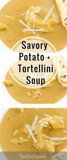 Stay warm with this hot bowl of savory potato + tortellini soup. With hearty vegetables, potatoes, tortellini, and a few other ingredients, I'm cooking this soup recipe in the Instant Pot! Get this soup recipe on the blog! #creamy #tortellini #healthy #easy #recipe