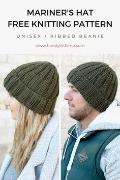 knitting inspiration This ribbed beanie knitting pattern is a really easy knit, making a ribbed mariner's hat for a man or woman to wear. Beanie Knitting Patterns Free, Beanie Pattern Free, Beginner Knitting Patterns, Knitting For Beginners, Knitting Designs, Knit Patterns, Free Knitting, Knitting Stitches, Rib Stitch Knitting