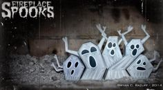 Halloween Special - Fireplace Ghosts Paper Toys - by Chemical 9 - == -  These 5 Fireplace Spook paper toys were created by designer Bryan Ratliff, from Chemical 9 website. Happy Halloween for all!
