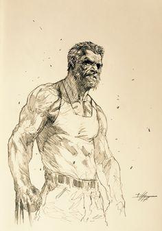 "Gabriele Dell'otto — ""Old man Logan"" speed drawing. Old Man Logan Comic, Old Logan, Wolverine Art, Logan Wolverine, Drawing Reference Poses, Drawing Poses, Marvel Art, Marvel Heroes, Comic Books Art"