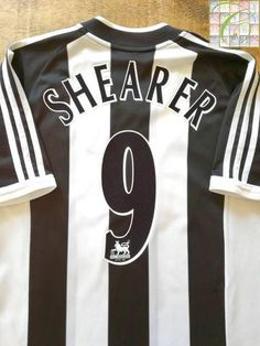 Official Adidas Newcastle United home football shirt from the season. Complete with Shearer on the back of the shirt in official extra Premier League lettering. Newcastle United Football, Alan Shearer, Charlton Athletic, Online Match, League Gaming, Uefa Champions League, Football Jerseys, Black White Stripes, Premier League