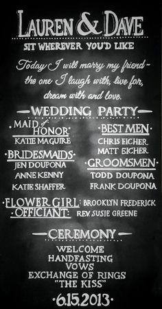 Chalkboard Wedding Program Sign Handdrawn Custom by LBFStudio Wedding Program Sign, Wedding Signs, Our Wedding, Dream Wedding, Wedding Images, Spring Wedding, Wedding Stuff, Rustic Wedding, Wedding Reception