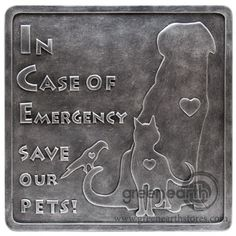 Green Earth Stores   00211297079 - Sign - In Case of Emergency Save Our Pets - Silver