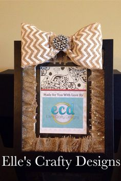 Elle's Crafty Designs - Fashionably Famous Frames - Custom Burlap Matted 5x7 Black & White Embellished Chevron Burlap Bow Picture Frame  on Etsy, $40.00