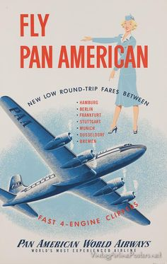 Vintage Aeroplanes Pan American World Airways Travel Ads, Airline Travel, Air Travel, Aeropostale, Vintage Advertisements, Vintage Ads, Retro Airline, American Airlines, Air Festival