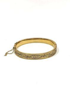 Rose Gold & Enamel Bracelet Gold Filled Bangle Taille