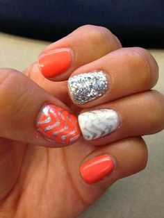Could do with Diamond Dust Sparkle, Silver Chevron nail wraps and Rumba, Porcelain TruShine gel from melissaashley.jamberry.com