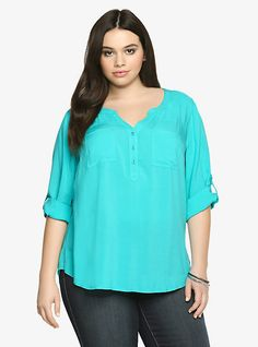 Button-Tab Sleeves Challis Blouse