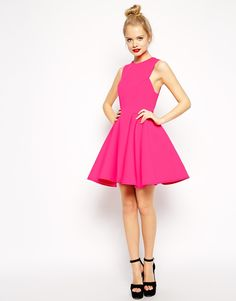 Image 4 of ASOS Premium Bonded Fit And Flare Dress