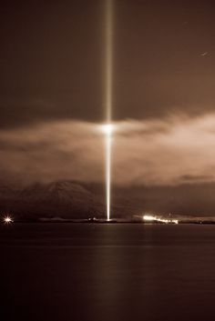 reykjavik  --- Yoko Ono Art Installation out in the Hinterlands... Much like the Ground Zero double lit beams to the heavens.