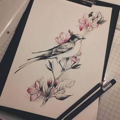 intage stylish dotwork/linework swallow and tree - Tattoo MAG Bird Drawings, Pencil Art Drawings, Tattoo Drawings, Body Art Tattoos, Sleeve Tattoos, Bird And Flower Tattoo, Flower Tattoo Designs, Flower Tattoos, Tattoo Bird