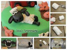 Silvia's Tortenträume: Shaun Schaf Deko liegend Fondant Kuchen Cake Motivtorte Marshmallows