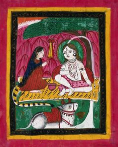 Page 153: Shiva and Parvati seated with Nandi bull. Gouache drawing. | Wellcome Collection